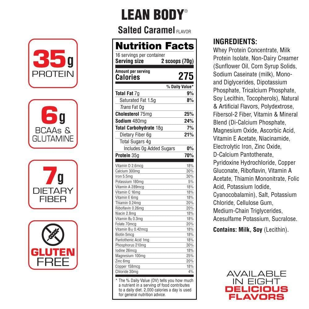 Labrada Nutrition Lean Body Hi Protein Meal Replacement Shake, Salted Caramel, 1.12 Kg-Curavita