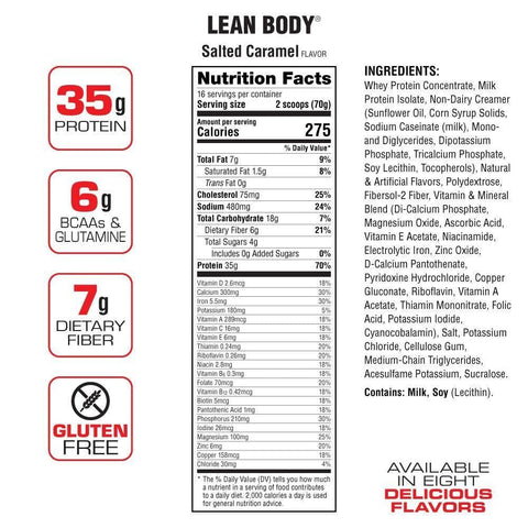 Image of Labrada Nutrition Lean Body Hi Protein Meal Replacement Shake, Salted Caramel, 1.12 Kg-Curavita
