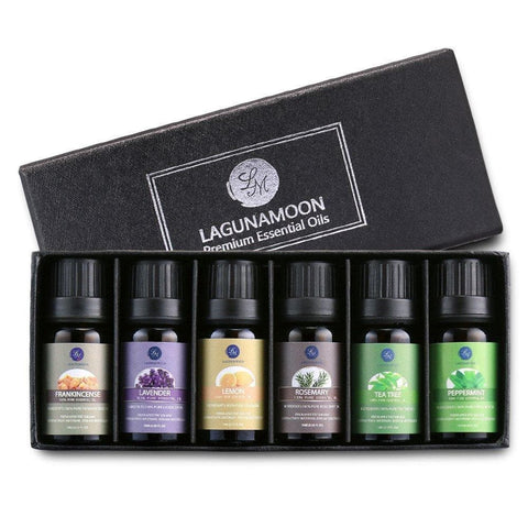 Image of Lagunamoon Essential Oils,Top 6 Aromatherapy Oils Lavender Tea Tree Peppermint Rosemary Lemon Frankincense Therapeutic Essential Oil Set