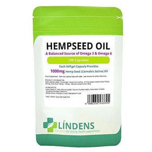 Lindens Powerful Hemp Seed Oil 1000mg 3-PACK 300 Capsules Omega 3 6 Hempseed-Curavita