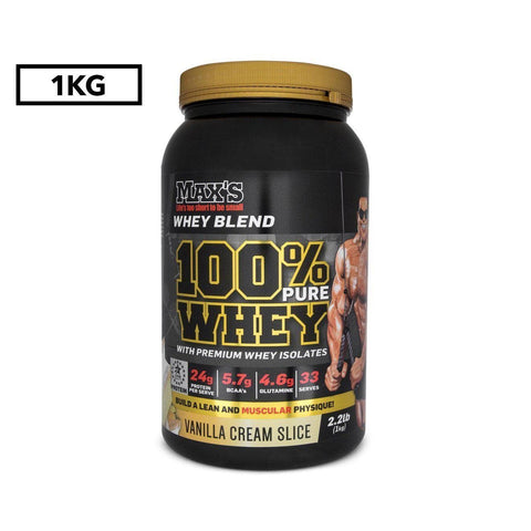 Image of Max's 100% Whey Protein Powder, Vanilla Cream Slice, 1kg-Curavita