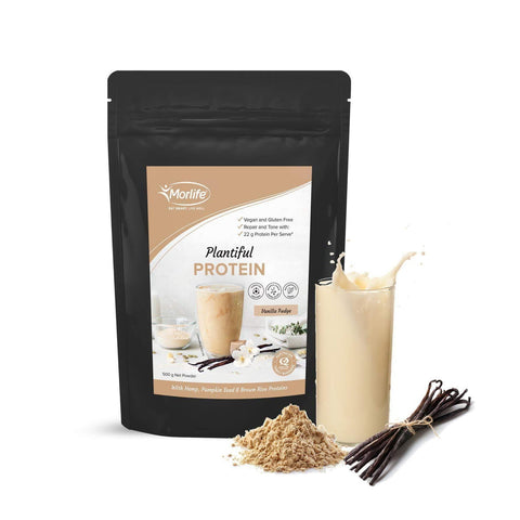Image of Morlife Plantiful Vegan Protein Powder - Vanilla Fudge | Best Tasting Plant Protein-Curavita
