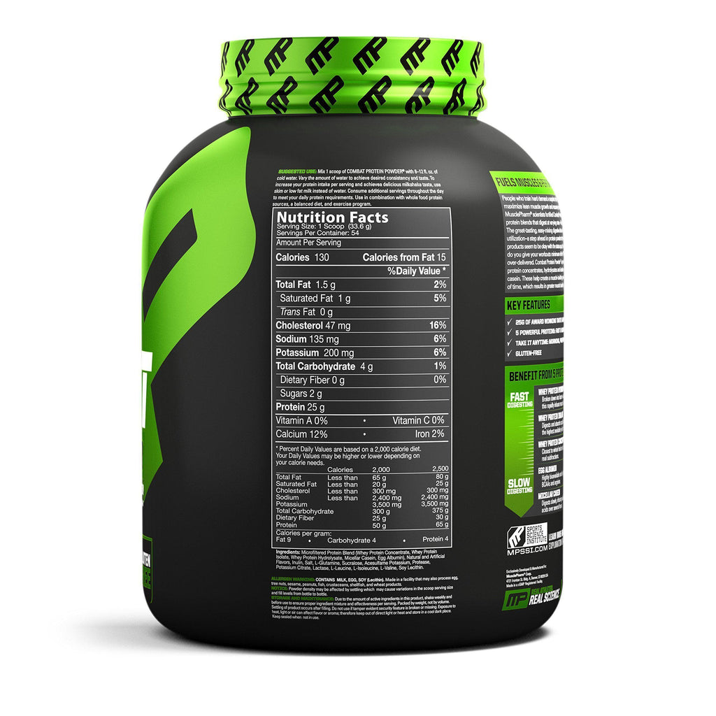 MusclePharm Combat Protein Powder - BCAA's and Glutamine for Recovery, Banana Cream,-Curavita