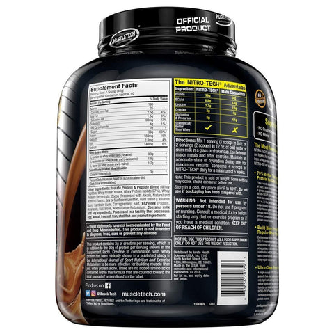 MuscleTech NitroTech Whey Protein Powder, Mocha Cappuccino, 4 Pound-Curavita
