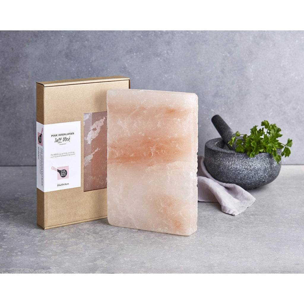 Natural Himalayan Salt Block for BBQ Cooking Grilling Serving Entertaining. Medium Rectangle 20cm x 30cm x 3cm 4.5kg-Curavita