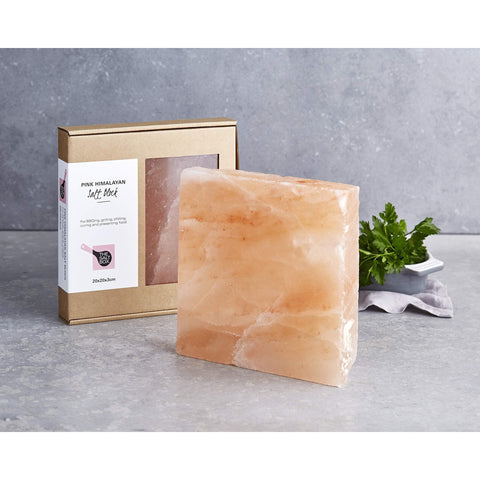 Natural Himalayan Salt Block for BBQ Cooking Grilling Serving Entertaining. Small Square 20cm x 20cm x 3cm 2.9kg-Curavita