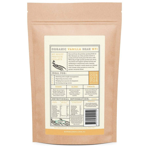 Image of Natural Whey Protein Isolate & Vanilla Bean WPI - Bare Blends 500 gms-Curavita
