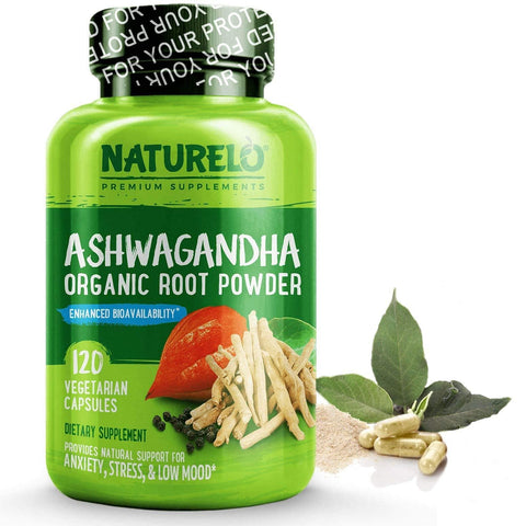 Image of NATURELO Ashwagandha Organic Root Powder - 120 Capsules