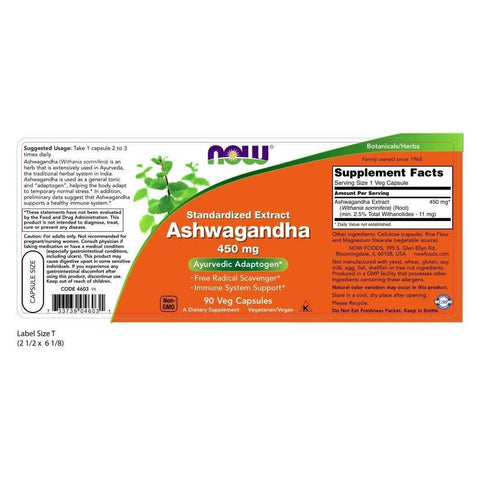 Image of NOW Ashwagandha Extract 450 mg,90 Veg Capsules