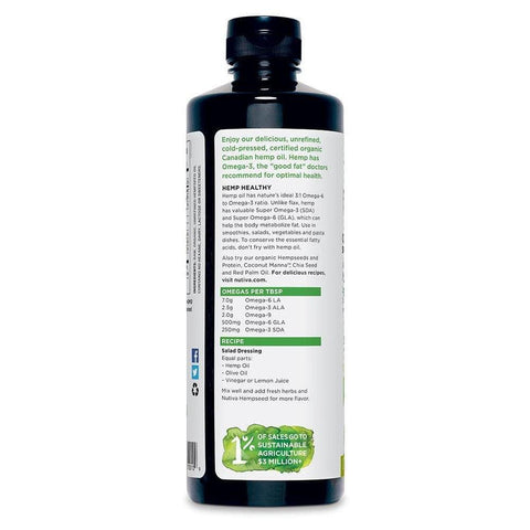 Image of Nutiva Organic, Cold-Pressed, Unrefined Hemp Seed Oil from non-GMO, Sustainably Farmed Canadian Hemp, 24-ounces-Curavita
