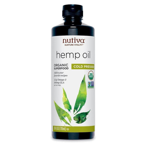 Nutiva Organic, Cold-Pressed, Unrefined Hemp Seed Oil from non-GMO, Sustainably Farmed Canadian Hemp, 24-ounces-Curavita