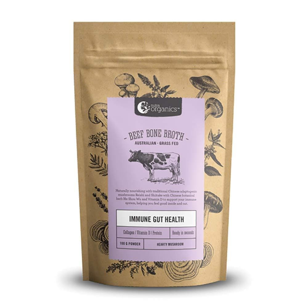 Nutra Organics Beef Bone Broth Organic Hearty Mushroom Powder 100 g, 100 grams-Curavita-Curavita