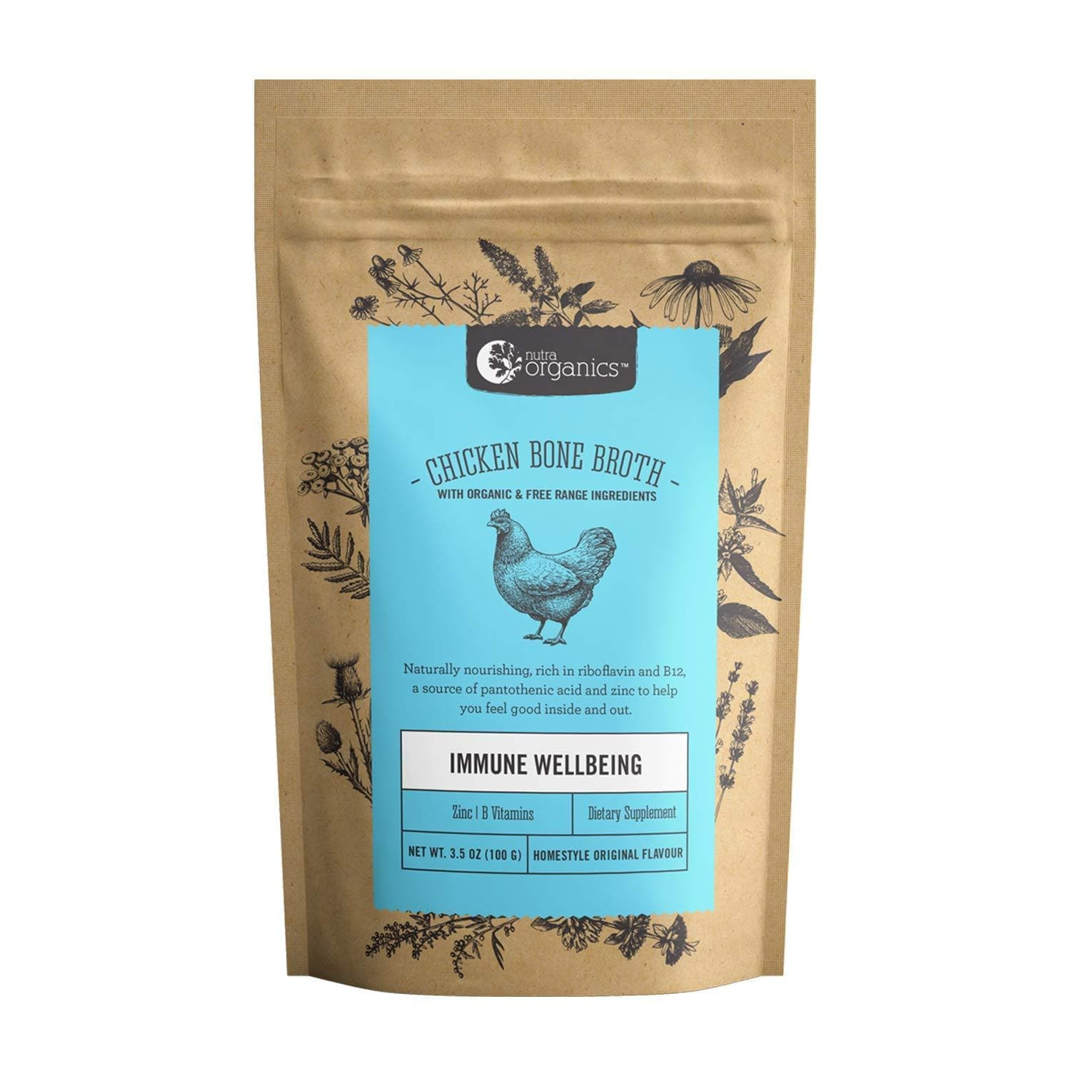 Nutra Organics Chicken Bone Broth Organic Original Powder, 100 grams-Curavita-Curavita
