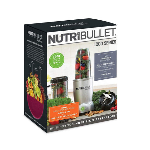 Image of NutriBullet 1200w Series Blender 10 Piece Set, Silver-Curavita