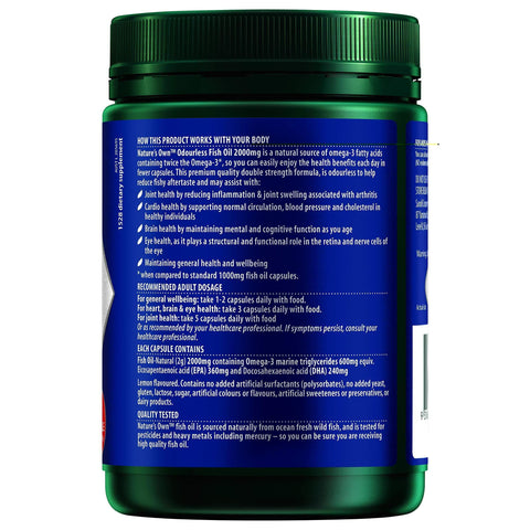 Image of Odourless Fish Oil 2000mg - Source of Omega-3 - Maintains Wellbeing - Supports Healthy Heart & Brain-Curavita