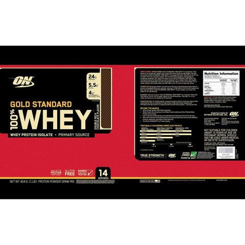 Image of Optimum Nutrition Gold Standard 100% Whey Protein Powder, Double Rich Chocolate, 454 Grams-Curavita