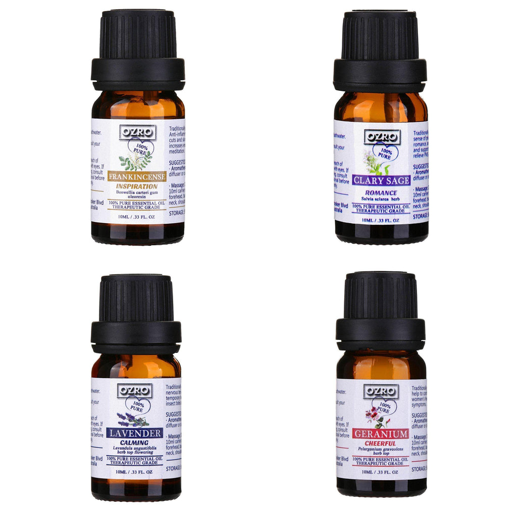 OZRO Romance & Relaxation Aromatherapy Essential Oils set - Certified 100% Pure Essential oil - Highest Quality Therapeutic Grade – Lavender, Geranium, Clary Sage, Frankincense – 0.33 Fl. Oz. (10 ml)