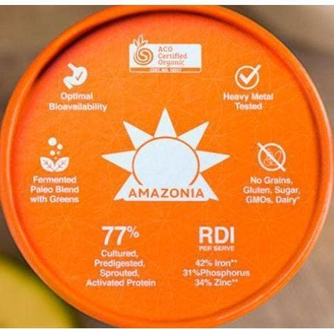 top view of amazonia raw protein powder lid