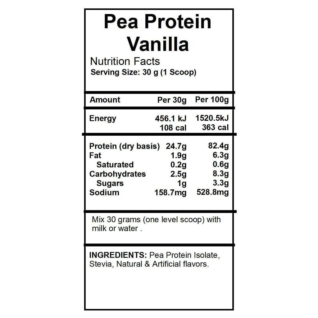 Pure Product Australia Pea Protein Isolate Powder (Vanilla) (1KG)-Curavita