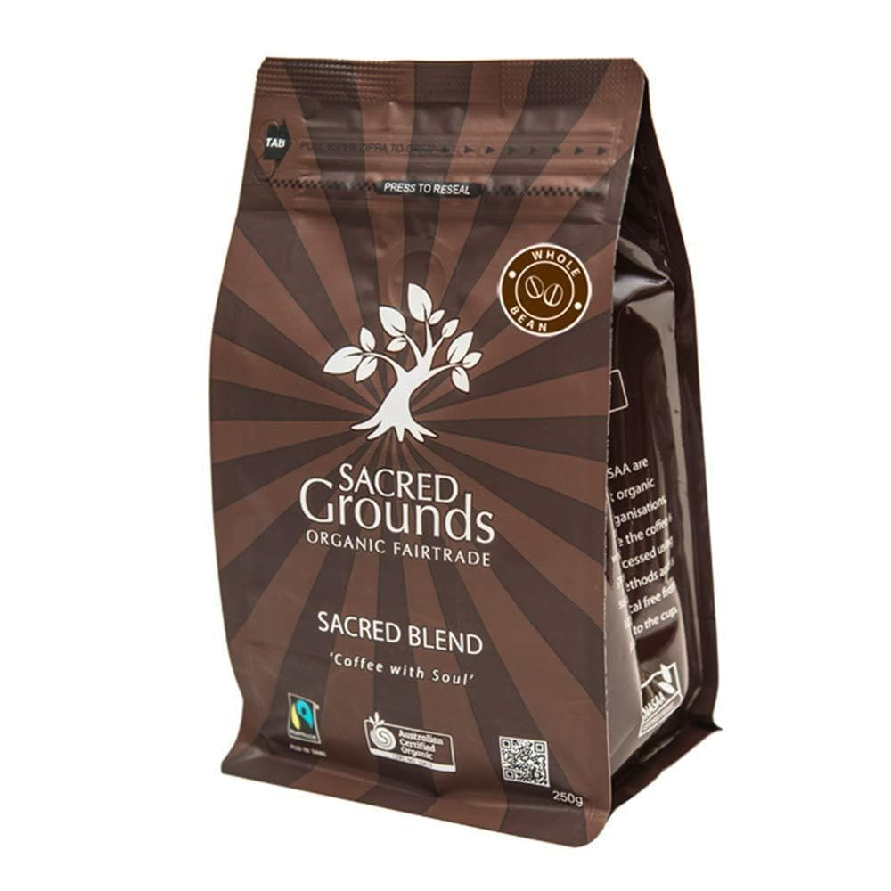 "Sacred Grounds, Organic ""Sacred Blend"" Whole Coffee Beans, 250g"
