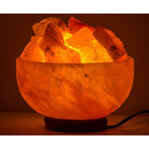 Image of Salt Lamp 4-5kg Fire Bowl Shape. From Better Breathing Systems and Salt Lamps Australia. Each Salt Lamp comes with 1 x Electric Cable and 2 x 10Watt Globes. Authentic A-Grade Himalayan Salt Lamp with the Safest Cable in Australia.-Curavita