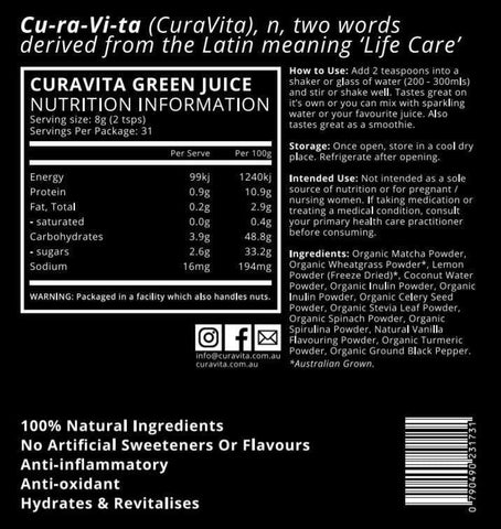 Image of curavita ingredients and nutritional information
