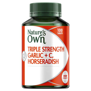Triple Strength Garlic + C, Horseradish - Reduces Severity of Colds - Supports Respiratory Health-Curavita