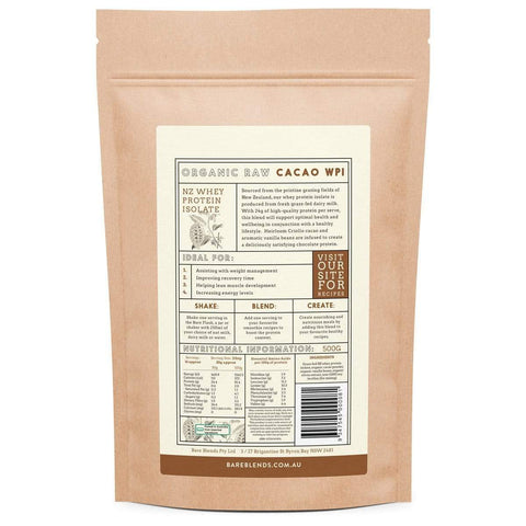 Whey Protein Isolate & Organic Raw Cacao &Chocolate Powder 500g - Bare Blends-Curavita
