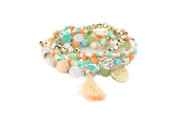 Multicolour Beads Tassel Bracelet