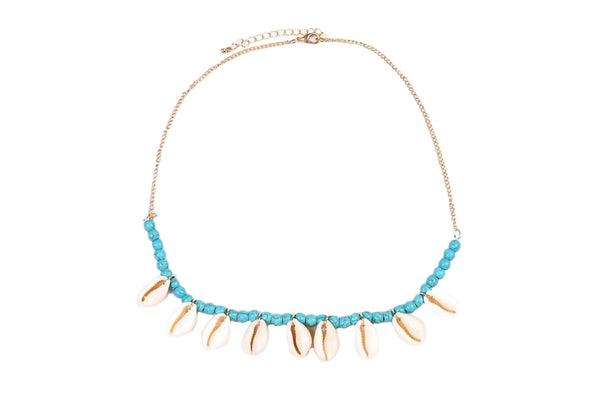 Turquoise Cowry Beaded Necklace
