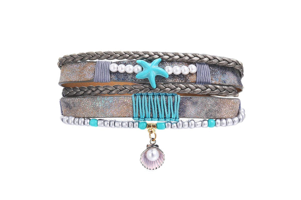 Starfish Leather Charm Bracelet