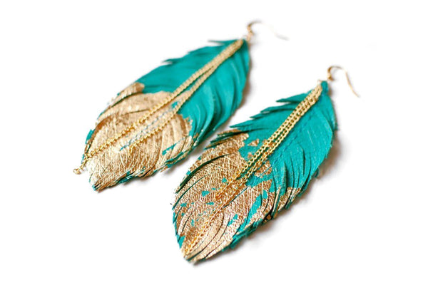The Gold Dip Feathered Earrings