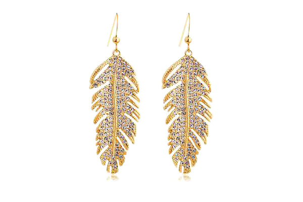 Shining Gold Feather Earring
