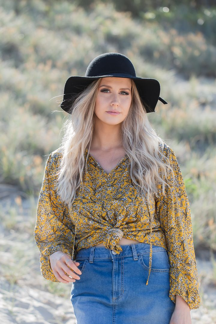 Yellow paisley Top