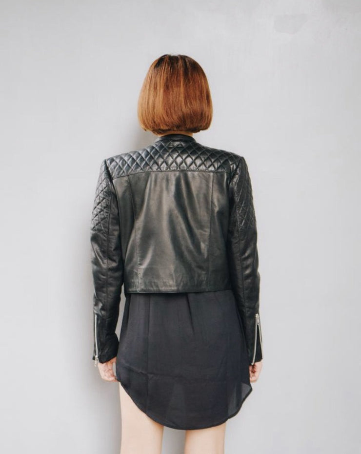 Jade Quilted Leather Bike Jacket
