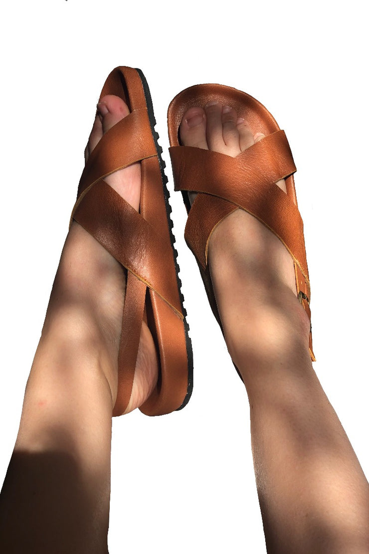 Maree Slides Tan WIDE FIT