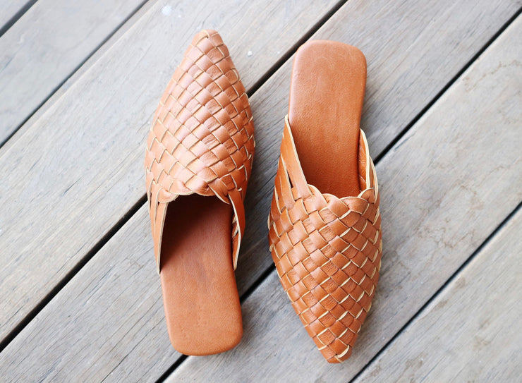 Pointed Woven Mules Tan