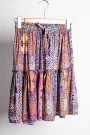 Purple Boho Tiered Midi Skirt