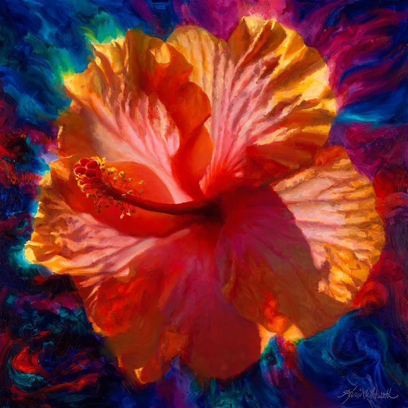 Tropical Hawaiian Hibiscus flower wall art canvas home decor by Karen Whitworth