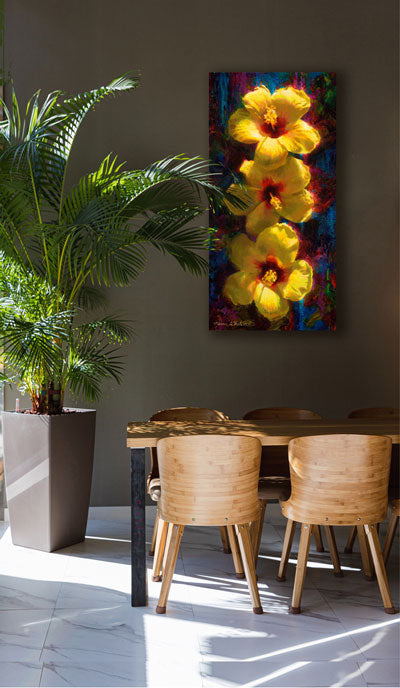 Tropical wall art Canvas of Yellow Hibiscus Flowers by Hawaii artist Karen Whitworth