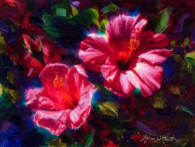 hibiscus painting with pink tropical flowers by Hawaii floral artist Karen Whitworth