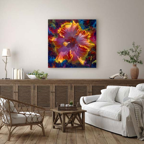 Wholesale Hawaiian Art Canvases and Home Decor with Hibisucs Flower Wall Art in Home Interior