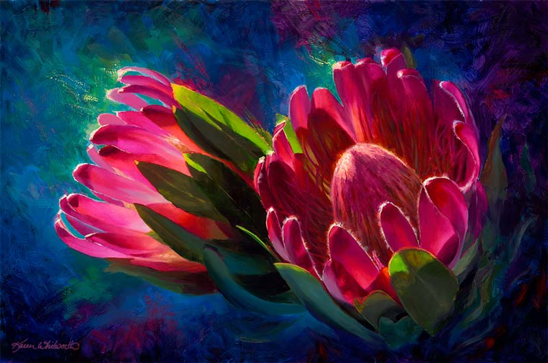 Tropical Hawaiian flower painting of pink protea