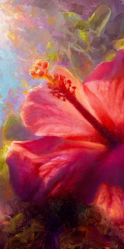 Hibiscus flower canvas of tropical flower painting