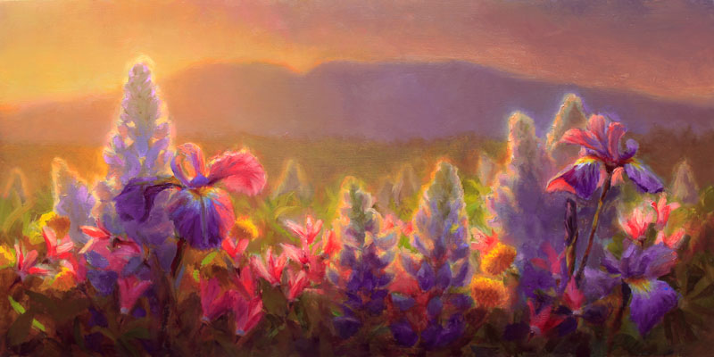 Sleeping Lady Alaska Mountain and Wildflower painting by Landscape Artist Karen Whitworth