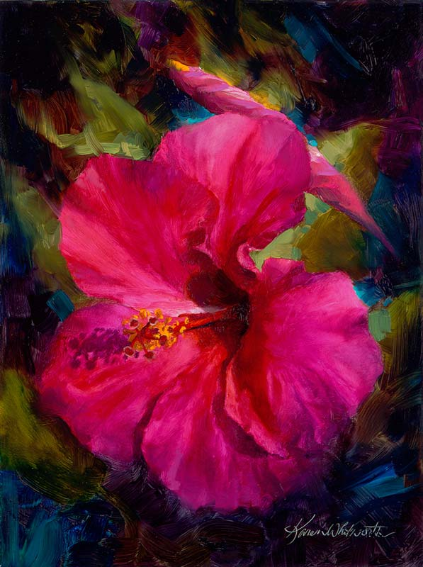 Tropical Hibiscus flower painting by flower artist Karen Whitworth