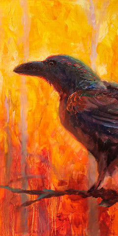 Crop of Autumn Raven Art Painting by bird artist Karen Whitworth