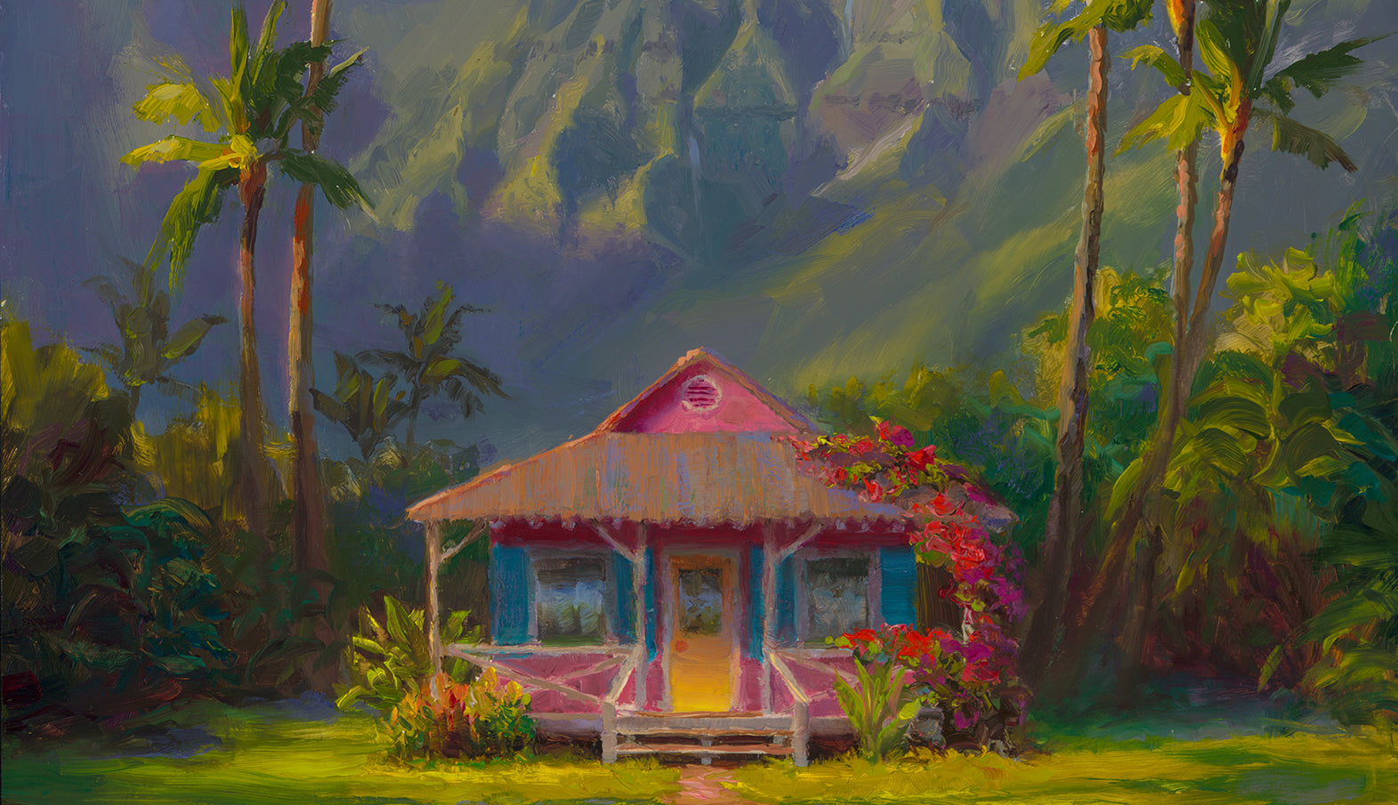 Painting of Hanalei Cottage and palm trees, Hawaiian landscape