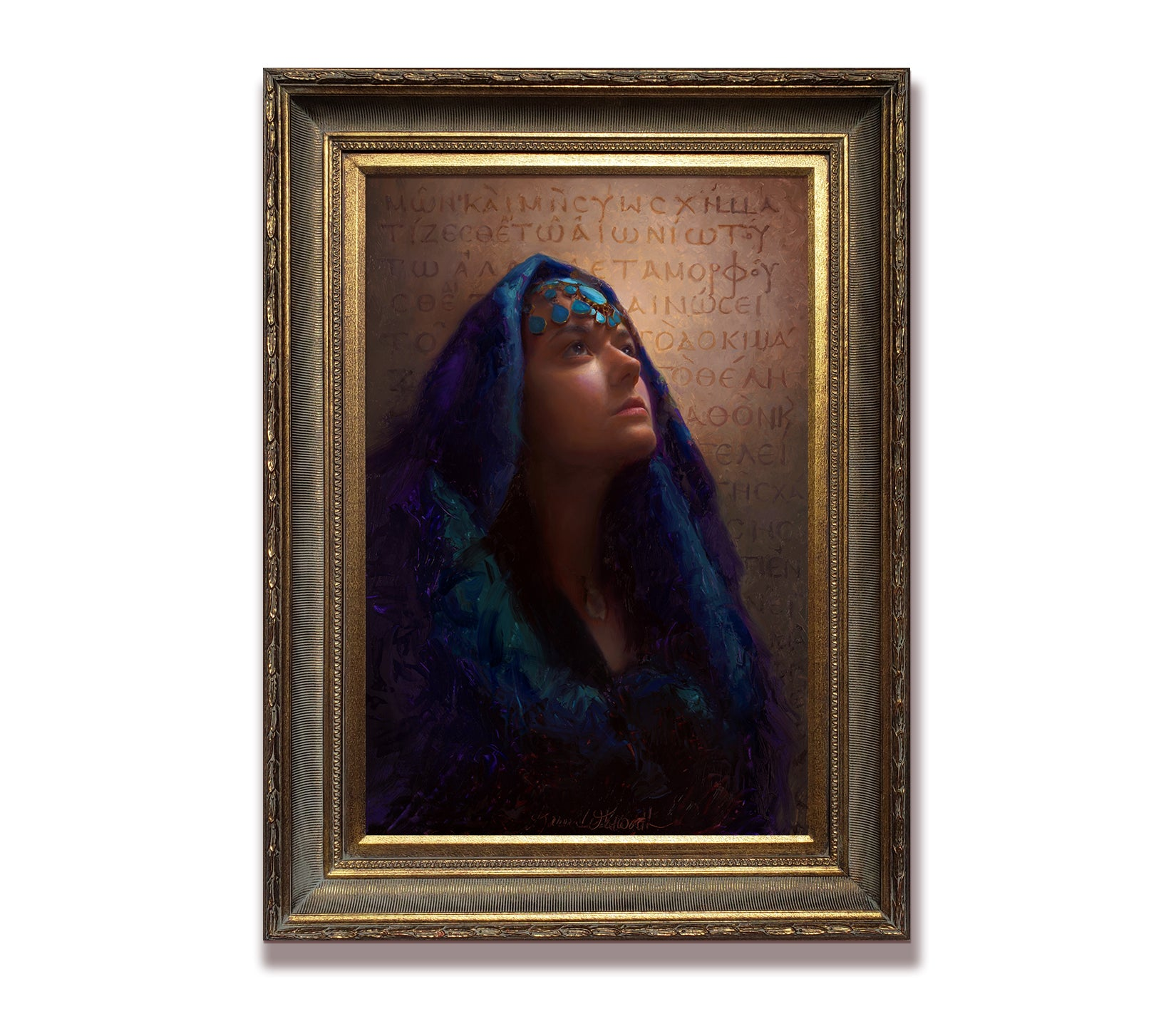 Custom Portrait Painting by Popular Portrait Artist Karen Whitworth - Portrait of woman and Greek Bible Scripture Codex