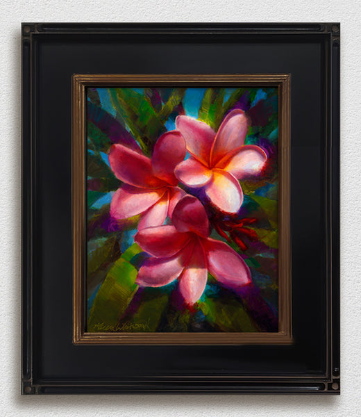 Framed tropical wall art canvas of Hawaiian plumeria flowers by gallery artist Karen Whitworth